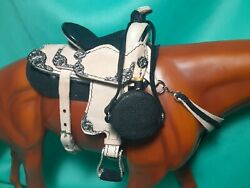 HAND CRAFTED Leather Canteen Bottle 1:9 Breyer Traditional Horse Cowboy Saddle