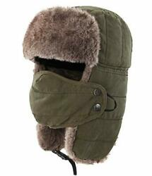 Warm Trapper Hat Windproof Winter Russian Hats With Mask Ushanka Hat Army Green