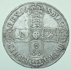 Rare 1688/7 James Ii Crown 2nd 8 Over 7 Unbared 2nd A In Gratia Silver Coin