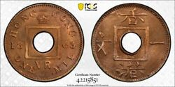 Hong Kong Queen Victoria 1 Mil 1863 Gem Uncirculated Pcgs Ms65 Rd Red Is Unusual