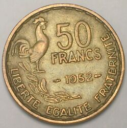 1952 France French 50 Francs Rooster Coin Vf+