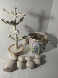 Lenox Easter Tree Ceramic With Garden Cachepot And 9 Ceramicegg