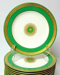 Antique Minton Set Of 12 Gold Gilt And Green On White Porcelain 8 7/8 Plates
