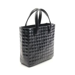 Chocolate Bar Tote Bag Enamel Leather Black Silver Fittings No.5651