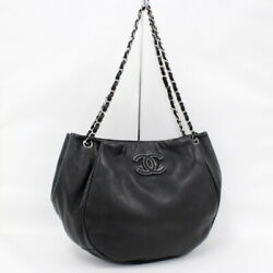 Chain Shoulder Bag Razor Black Previously Owned Free Shipping No.6253