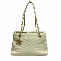 Stitch Chain Tote A92089 Ivory Gold Fittings Women And039s Bag No.7549