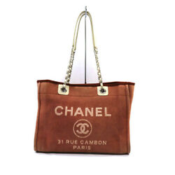 A67001 Deauville Tote Bag Canvas Red Women 's Chain Used6 No.7438