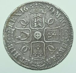 Rare 1670/69 Charles Ii Crown 70 Over 69 British Silver Coin R2 Vf