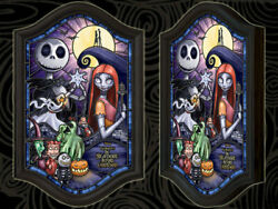 Nightmare Before Christmas/light Up Stained Glass Halloween Town Jack Sally
