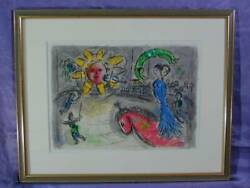 Chagall Original Lithograph Red Horse And Sun