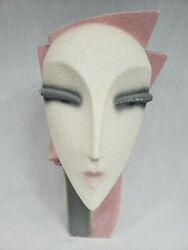 Vintage Head Bust Lindsey B Balkweill Style Pink Pearly 12½quot; Art Deco 80#x27;s