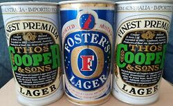 3 Vintage 25 Fl Oz Straight Steel Beer Cans From Australia Thos Cooper Fosters