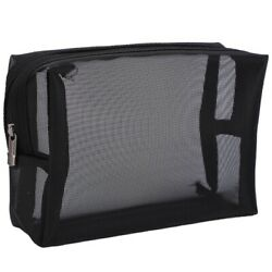 Black Mesh Makeup Bag See Through Zipper Pouch Travel Cosmetic and Toiletries C4 $10.72