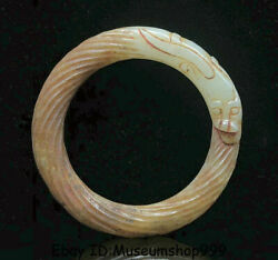 2.8old China Natural Hetian Jade Nephrite Carved Dragon Bracelet Bangle Jewelry