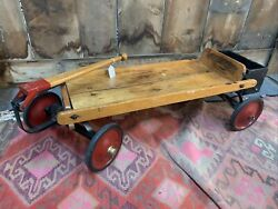 Rare Lewis E. Myers Antique Wood Heavy Duty Rolls Racer Toy Child's Wagon