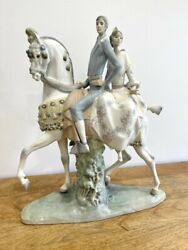 Lladro Valencians Group 4648 - Perfect Condition Man And Woman On Horse