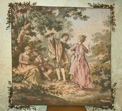 Antique Tapestry Couple Dancing Playing Flute Reading Ormolu Corner Decorations