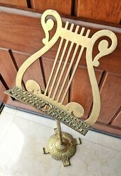 Vintage Adjustable Height Brass Sheet Music Stand Lyre Harp Design Free Shipping