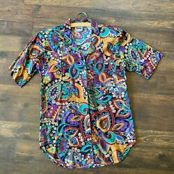 Vintage Tapestry 1980s Short Sleeved Multi Colored Paisley Printed Button Down