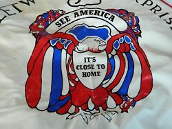 Vintage Rv Fleetwood Usa Spare Tire Cover See America Eagle Red Off-white Blue