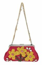 Dolce And Gabbana Pink Brocade Floral Crystal Applique Evening Purse