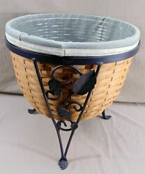 Longaberger 2004 Ficus Planter Basket Wrought Iron Stand W/liner Signed