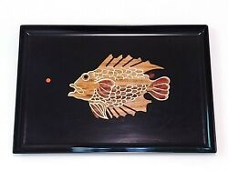 Vtg 60and039s Couroc Tray Inlaid Brass/wood Rare Fish Design 17-7/8 X 12-3/8 Polished