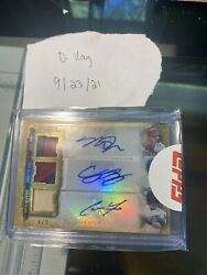 Mike Trout/ Cody Bellinger/ Christian Yelich Triple Auto Relic 6/9