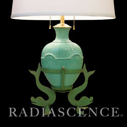 Matte Green Deco Art Pottery Ceramic Wrought Iron Dolphin Sculpture Table Lamp .