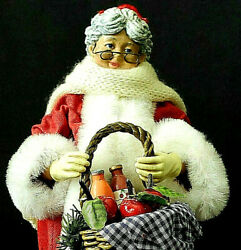 Clothtique By Possible Dreams - 1997 Mrs. Santa Claus With Fruit And Wine Basket