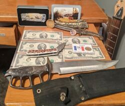 Junk Drawer Knives, Coins, Bills, Awesome Lot For Dad And For Any Collector