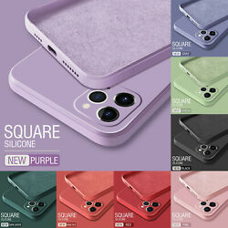 Square Soft Case For iPhone 13 12 Pro Max 12 11 XS XR 8 7 Liquid Silicone Cover $5.99