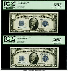 Rare Reverse Changeover Pair Fr 1702/1701 10 1934a/1934 Mule Silver Certificate