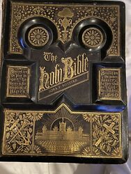 Large Stunning Antique Parallel Holy Bible Family Jesus Old 2500 Illustrations