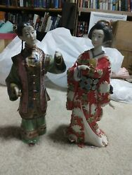 Oriental Statues Lot Of 2 One Signed