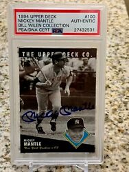 1994 Upper Deck Mickey Mantle Autograph Psa From The Bill Wilen Collection