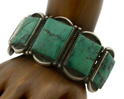 Navajo Bracelet .925 Silver Green Turquoise Signed Calvin Martinez C.80and039s