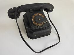 Antique Child Toy Dial Metal Telephone Battery Operated Parts Repair Untested