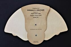 Vintage Norman D. Holcombe Franks Funeral Home Hand Fan Trappe Pa Hand Fan Adv