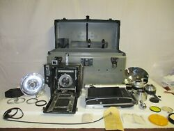 Vintage Graflex Speed Graphic Camera With Many Accessories And Case