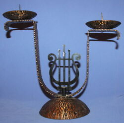 Vintage Handcrafted Wrought Iron Copper Plated Candelabra