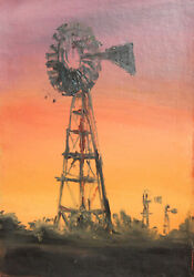 Vintage Oil Painting Impressionist Landscape Windmill Water Towers