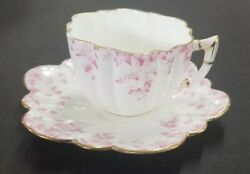 Vintage Wileman Shelley Foley Pink Scallop Tea Cup And Saucer 4646