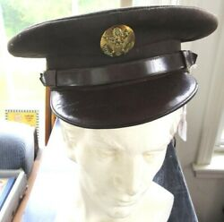 Wwii Vintage Us Military Uniform Brown Cap Officer Soldier Leather Strap Buttons