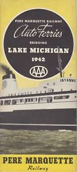 Ship 1942 Pmrr Car Ferry Brochure, Schedule, Route And Port Maps Advertising Piece
