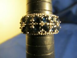 Sterling Silver and Sapphire and Diamond Ring Size 7.25 $65.00