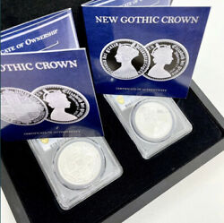 2021 New Gothic Crown Alderney Pcgs Pr70 Set Of 2 Andpound5 Coin Silver Great Britain