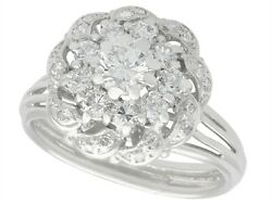 1.39 Ct Diamond And 18 Ct White Gold Cluster Ring Vintage Circa 1950