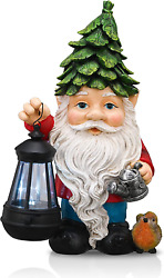 Teresa's Collections Large Garden Gnome Statue With Solar Powered Lights, Resin