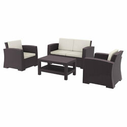 Siesta Monaco Resin Patio Seating Set 4 Piece With Natural Cushion Isp835-br